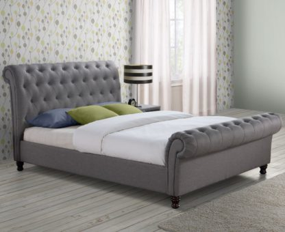 An Image of Castello Grey Fabric Scroll Sleigh Bed Frame - 4ft6 Double