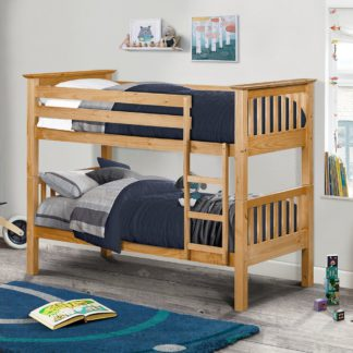 An Image of Barcelona Antique Solid Pine Wooden Bunk Bed Frame - 3ft Single