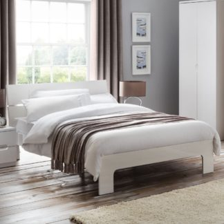An Image of Wooden Bed Frame 5ft King Size Manhattan White Gloss