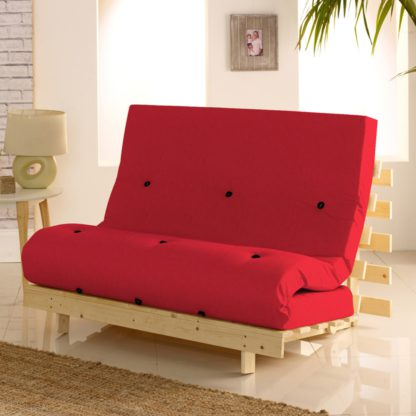 An Image of Metro Pine Wooden 2 Seater Chair/Folding Guest Bed with Red Futon Mattress - 4ft Small Double