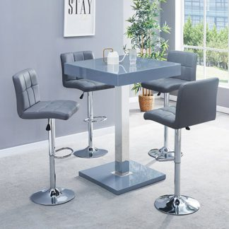 An Image of Topaz Glass Bar Table In Grey Gloss With 4 Coco Grey Stools