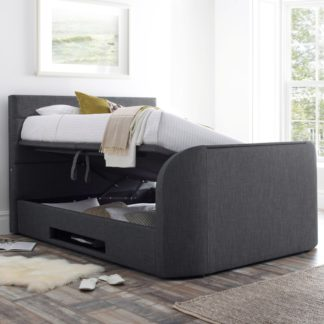 An Image of Annecy Slate Grey Fabric Ottoman Media TV Bed Frame - 5ft King Size