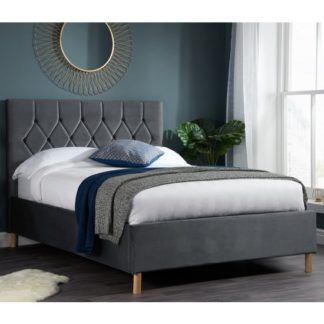 An Image of Loxley Fabric Upholstered Small Double Ottoman Bed In Grey