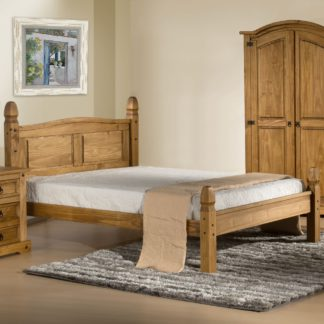 An Image of Corona Low Foot End Waxed Solid Pine Wooden Bed Frame - 5ft King Size