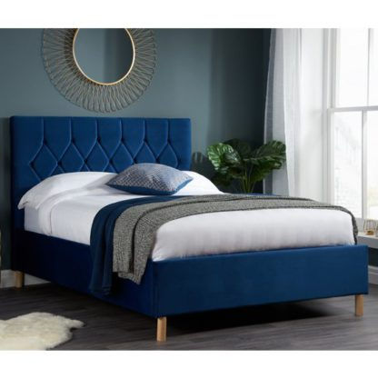 An Image of Loxley Fabric Upholstered Double Bed In Blue