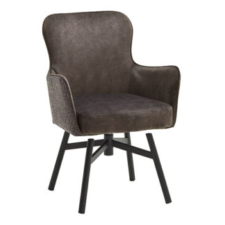 An Image of Hexo Cappuccino Fabric Dining Chair With Black Round Frame