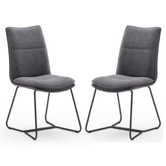 An Image of Ciko Anthracite Fabric Dining Chairs With Black Legs In Pair