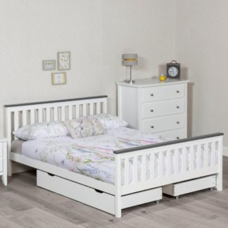 An Image of Shanghai White and Grey Wooden Bed Frame Only - 5ft King Size