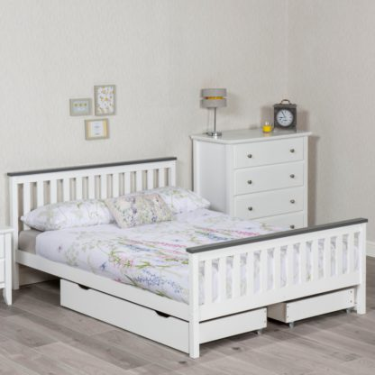 An Image of Shanghai White and Grey Wooden Bed Frame Only - 4ft Small Double