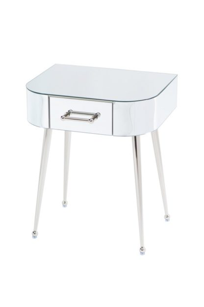 An Image of Mason Mirrored Side Table – Shiny Silver Legs