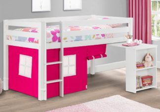 An Image of Wendy White Wooden Mid Sleeper With Pink Tent Frame Only - 3ft Single