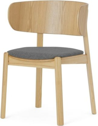 An Image of Byrom Dining Chair, Marl Grey & Oak Finish