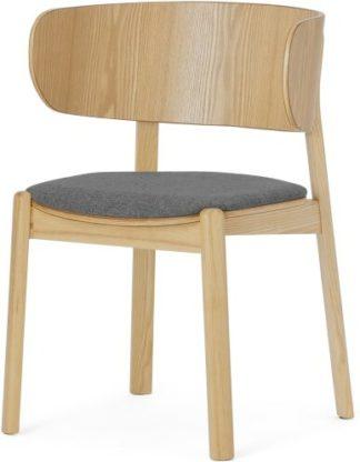 An Image of Byrom Dining Chair, Marl Grey & Oak Finish