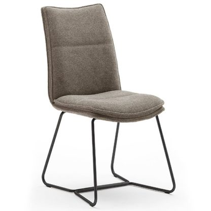 An Image of Ciko Fabric Dining Chair In Cappuccino With Matt Black Legs
