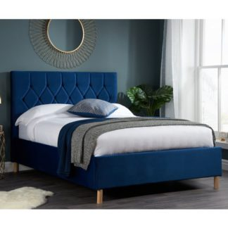 An Image of Loxley Fabric Upholstered Double Ottoman Bed In Blue