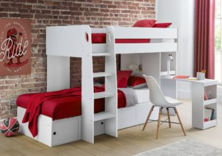 An Image of Eclipse White Wooden Storage Bunk Bed Frame - 3ft Single