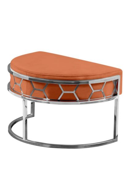 An Image of Alveare Footstool Silver - Orange