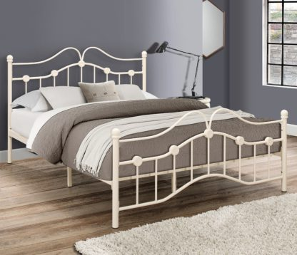 An Image of Canterbury Cream Metal Bed Frame - 4ft Small Double