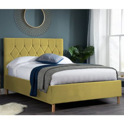 An Image of Loxley Fabric Upholstered Small Double Ottoman Bed In Mustard