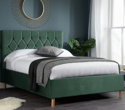 An Image of Loxley Green Velvet Bed Frame - 4ft Small Double