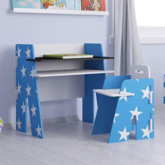 An Image of Star Blue and White Desk and Chair