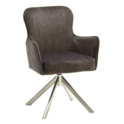 An Image of Hexo Cappuccino Fabric Dining Chair With Brushed Oval Frame