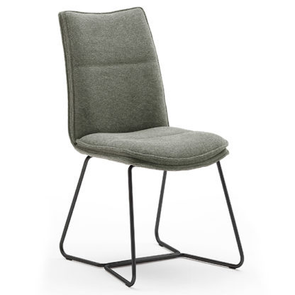 An Image of Ciko Fabric Dining Chair In Olive With Matt Black Legs