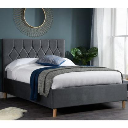 An Image of Loxley Fabric Upholstered Double Bed In Grey