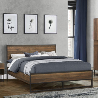 An Image of Houston Walnut Wooden Bed Frame - 4ft6 Double