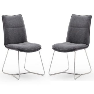 An Image of Ciko Anthracite Fabric Dining Chairs With Brushed Legs In Pair