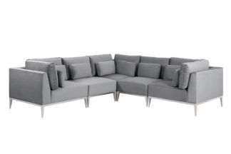 An Image of Cassie Large Corner Sofa – Dove Grey – Stainless Steel Base