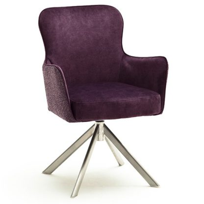 An Image of Hexo Merlot Fabric Dining Chair With Brushed Oval Frame