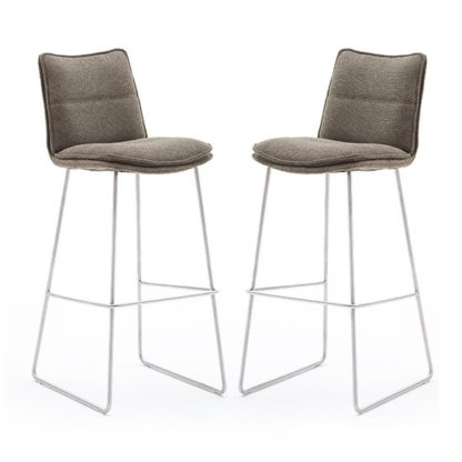 An Image of Ciko Cappuccino Fabric Bar Stools With Brushed Legs In Pair