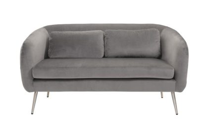 An Image of Roanna Two Seat Sofa - Dove Grey - Silver + Brass Legs