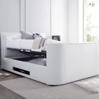 An Image of Ardwick White Leather Media TV Bed Frame - 6ft Super King Size