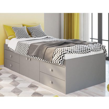 An Image of Arctic Grey Wooden Low Sleeper 4 Drawer Storage Bed Frame - 3ft Single