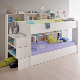 An Image of Bibop White Wooden Bunk Bed with Underbed Storage Drawer Frame Only - EU Single