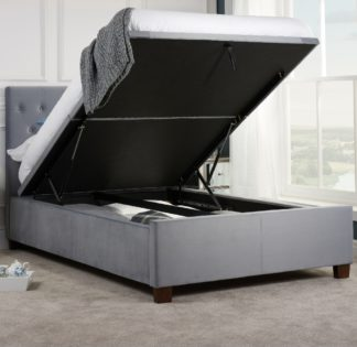 An Image of Cologne Grey Fabric Ottoman Storage Bed - 5ft King Size