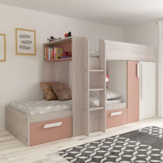 An Image of Barca Pink and Oak Wooden Bunk Bed Frame - EU Single