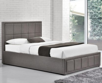 An Image of Hannover Grey Fabric Bed Frame - 4ft Small Double