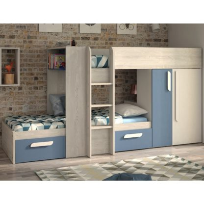 An Image of Barca Blue and Oak Wooden Bunk Bed Frame - EU Single