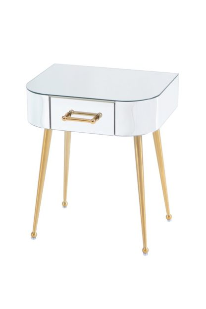 An Image of Mason Mirrored Side Table – Brushed Gold Legs