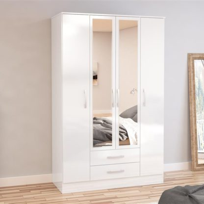 An Image of Lynx 4 Door Combination Mirrored Wardrobe White