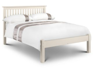 An Image of Solid Pine Wooden Bed Frame 5ft King Size Barcelona Low Foot End Stone White Finish