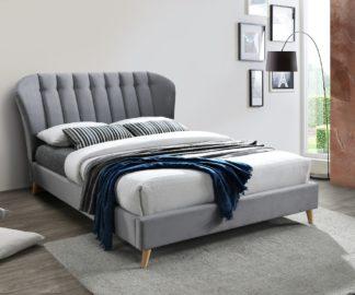 An Image of Elm Grey Velvet Fabric Bed Frame - 5ft King Size