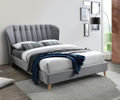 An Image of Elm Grey Velvet Fabric Bed Frame - 4ft Small Double