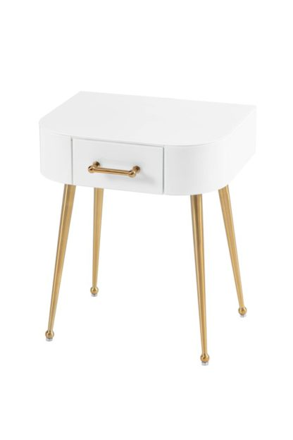 An Image of Mason White Glass Side Table – Brushed Gold Legs