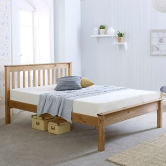 An Image of Wooden Bed Frame 5ft King Size Chester Waxed Pine