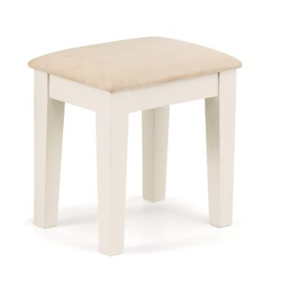 An Image of Portland Stone White and Oak Dressing Stool