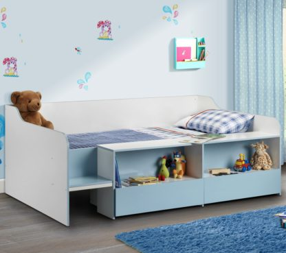 An Image of Stella Blue and White Wooden Kids Low Sleeper Cabin Storage Bed Frame - 3ft Single